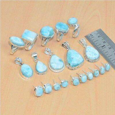 Wholesale 15Pc 925 Solid Sterling Silver Natural Larimar Pendant-Ring Mix Lot
