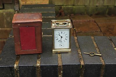 ANTIQUE 19c BRASS CARRIAGE ALARM CLOCK & FITTED CASE