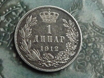 serbia .835 silver 1912 1 diner coin  decent grade 5gms