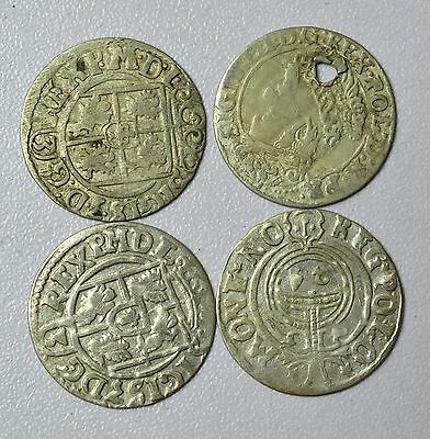 Lovely Lot Of 4 Medieval Silver Hammered Coins - Great Details - Z42