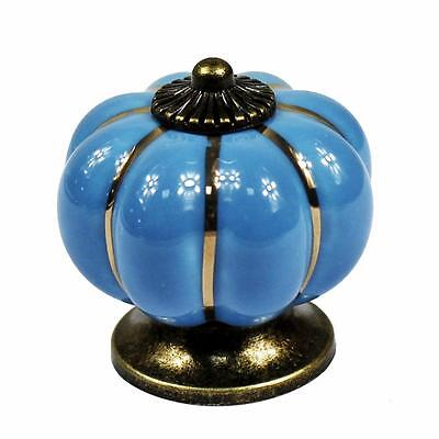 10 Blue Ceramic Pull Knobs European Style Dresser Kitchen Cabinet Drawer Door