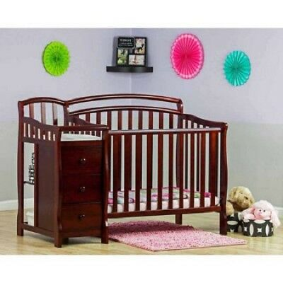 Baby Nursery Furniture Set Cherry 4-in-1 Mini Crib And Dressing Table Twin Rails