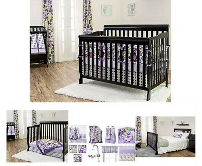 Baby Nursery Furniture Set Black Convertible 5-In-1 Fixed-Side Crib Wood Toddler