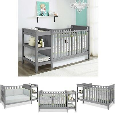 Baby Nursery Furniture Set Gray 2-in-1 Crib and Changing Table Storage Shelves