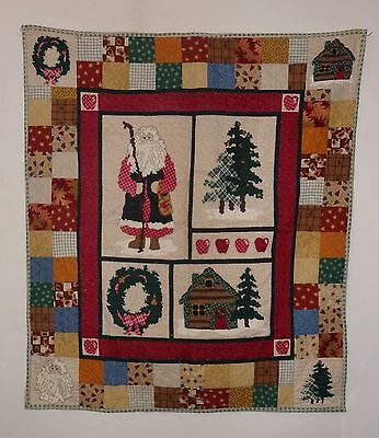 LITTLE QUILT Christmas hand made panel with additions (VC30) 107 x 92 cm