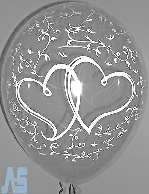 20 Clear Entwined Hearts Balloons Wedding Engagement Party Decoration Helium/Air