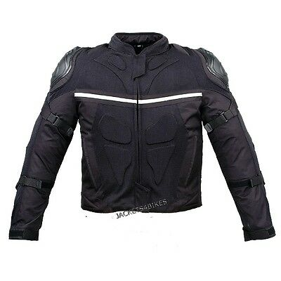 Mesh & Leather Motorcycle Jacket Weather Resistant with External Armor Black L