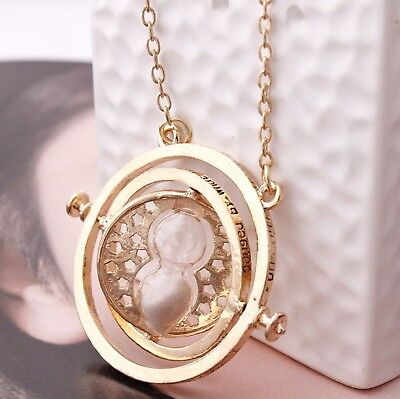Harry-Potter-Necklace Time-Turner-Gold-Hourglass-Hermione-Granger-Rotating-Spin