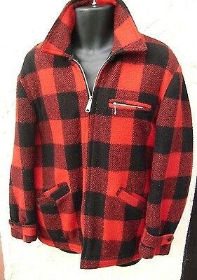 VINTAGE BUFFALO PLAID WOOL JACKET Coat M CH 46  Excellent Condition!