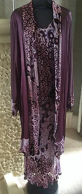 Beautiful occasion wear dress and jacket two piece in plum silk mix  UK size 22