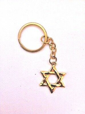 Lot 3 Star of David Magen Keychain Gold Color Israel Jewish Judaica Gift