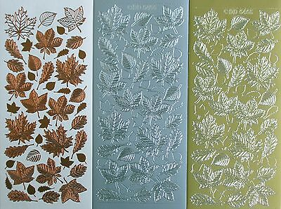 LEAVES Assorted Maple Fern PEEL OFF STICKERS Cardmaking Sticker Autumn Spring
