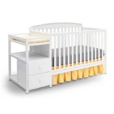 Baby Nursery Furniture Set Fixed-Side Crib White Wood &Metal Convertible Design