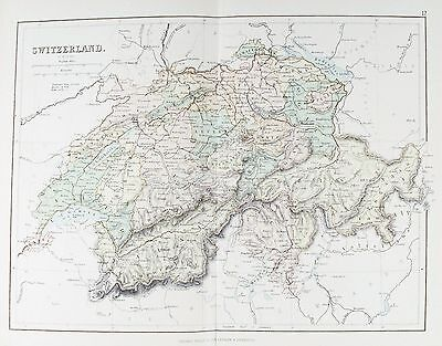 OLD ANTIQUE MAP SWITZERLAND c1879 by G PHILIP PRINTED COLOUR