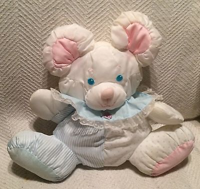 Fisher Price Puffalump Blue Pink Mouse Vintage Nylon Plush Baby Rattle Doll
