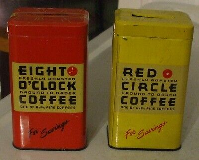 Lot of 2 Can Banks Red Circle Coffee and Eight O'Clock Coffee Nice Lot