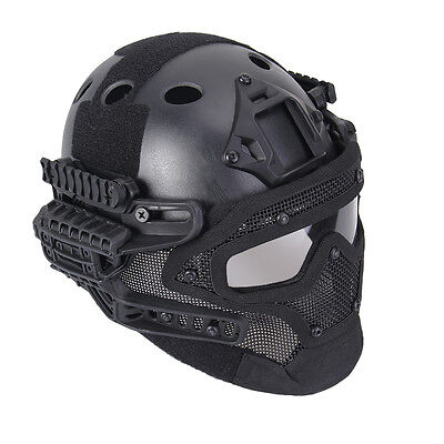 Tactical FAST Adjustment Protective G4 Full Facial Armor System Helmet Black