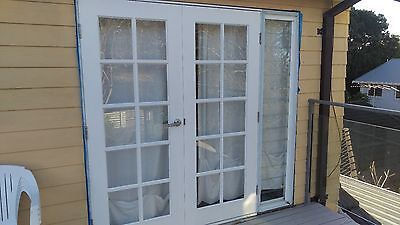 French Doors, with White Glass Louvre Sidelight's