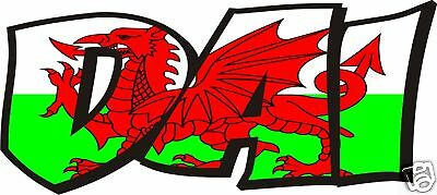 2x WALES WELSH FLAG NAME DECALS / STICKERS - YOUR TEXT