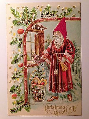 Antique Postcard Santa With A Red Fabric Hat