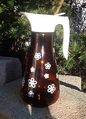 """Vintage Thatcher Mid Century Syrup Dispenser Amber Glass with Daisies """"PERFECT"""""""