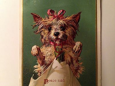 2 Antique Victorian Scraps Dogs With Christmas Wishes