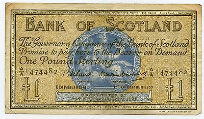 BANK OF SCOTLAND One POUND BANKNOTE 1st December 1959