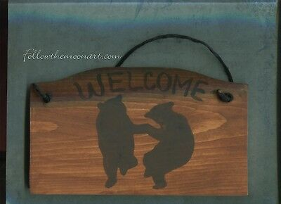 Country Folk Art Dancing Black Bear Silhouettes Welcome Wood Sign Ready toHang