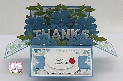 Handmade card, card in a box, Blue Floral thank you Teacher card PERSONALISED