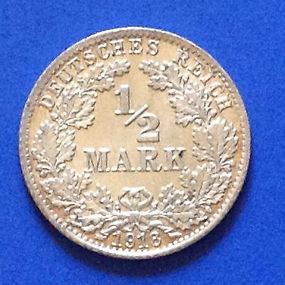 1918-D  Germany Empire Silver 1/2 Mark Coin