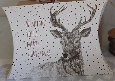 East Of India Christmas Pillow Gift Box - Merry Christmas Deer Stag