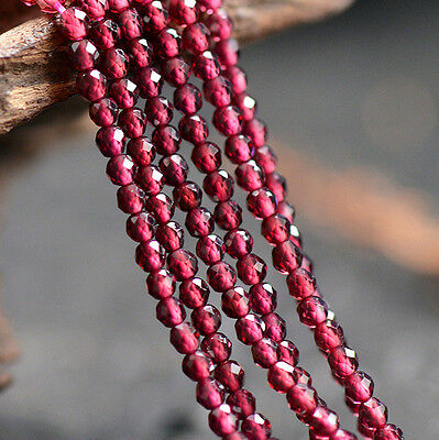 Natural Wine Red Garnet Gemstone Faceted Round Beads 15'' Strand 3MM