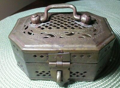 Large Brass Cricket, jewelry, Trinket Box Vintage Antique Ornate Metal - India 2