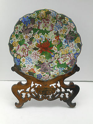 Large Vintage Chinese Cloisonne Scalloped Edge Plate On Carved Stand