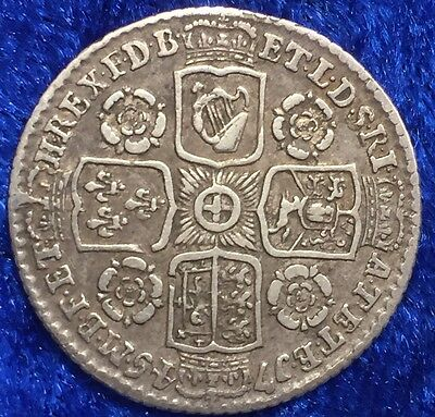 Antique Solid Silver King George II 1745 Sixpence Spink 3709