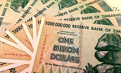 ! ZIMBABWE $1 Billion Hyper-inflation (10 pieces). UNC ($100 Trillion series) !