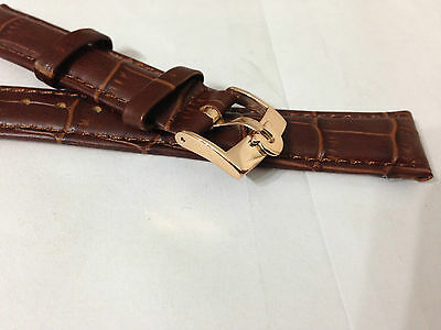 Brown 18Mm Leather Gents Watch Strap, Omega Rose Gold Plated Buckle
