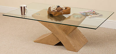 Milano Oak Glass Wood Modern Coffee Table Cross Leg Wooden Living Room Furniture