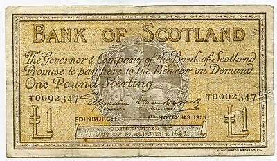 BANK OF SCOTLAND One POUND BANKNOTE 9TH NOVEMBER 1953