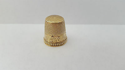Antique 10k Gold Thimble By Stern Brothers with Engraved Building Scene