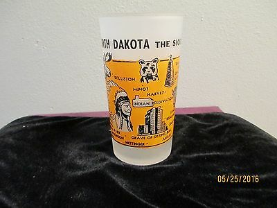 North Dakota The Sioux State frosted collectible glass-EUC