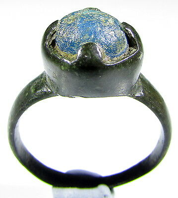 Scarce Medieval / Saxon Era Bronze Ring With With Blu Gem - Wearable - 2027