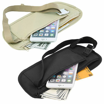 Travel Pouch Hidden Zippered Waist Compact Security Money Waist Belt Bag WA
