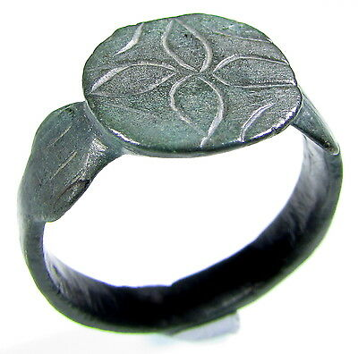 Superb Medieval Knight's Era Bronze Ring With Maltese Cross Motif-Wearable-2028