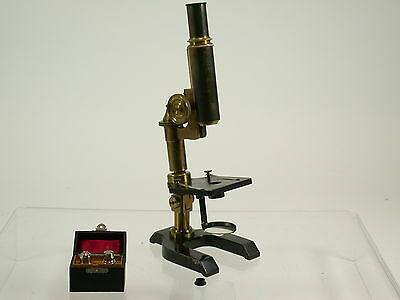 SEIBERT Wetzlar antique brass microscope Messing Mikroskop early + lenses /15K