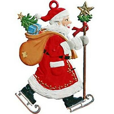 Hand Painted Pewter by Wilhelm Schweizer'Santa on Skates' Christmas Ornament