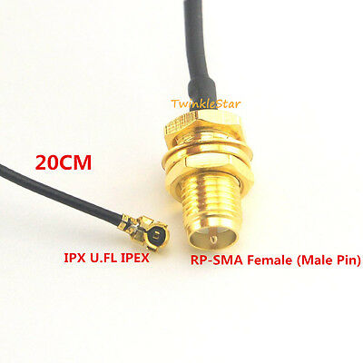 """RP SMA Female Male Pin to IPX U.FL IPEX 1.13 Cable Pigtail 20cm 8"""" for PCI Wifi"""