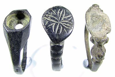Rare Lot Of 3 Roman To Medieval Bronze Rings - Wearable - 2041