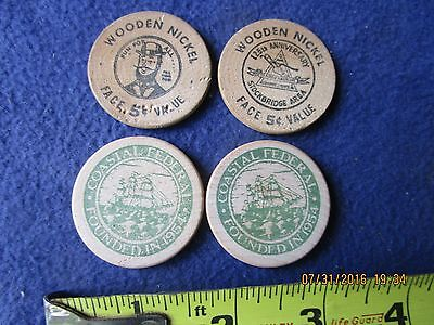 lot of 4 vintage wooden nickels nice graphics 1960s- 1980s
