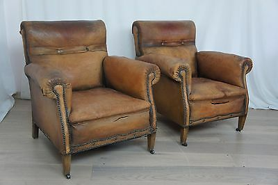 Pair Belguim Leather Club Chairs